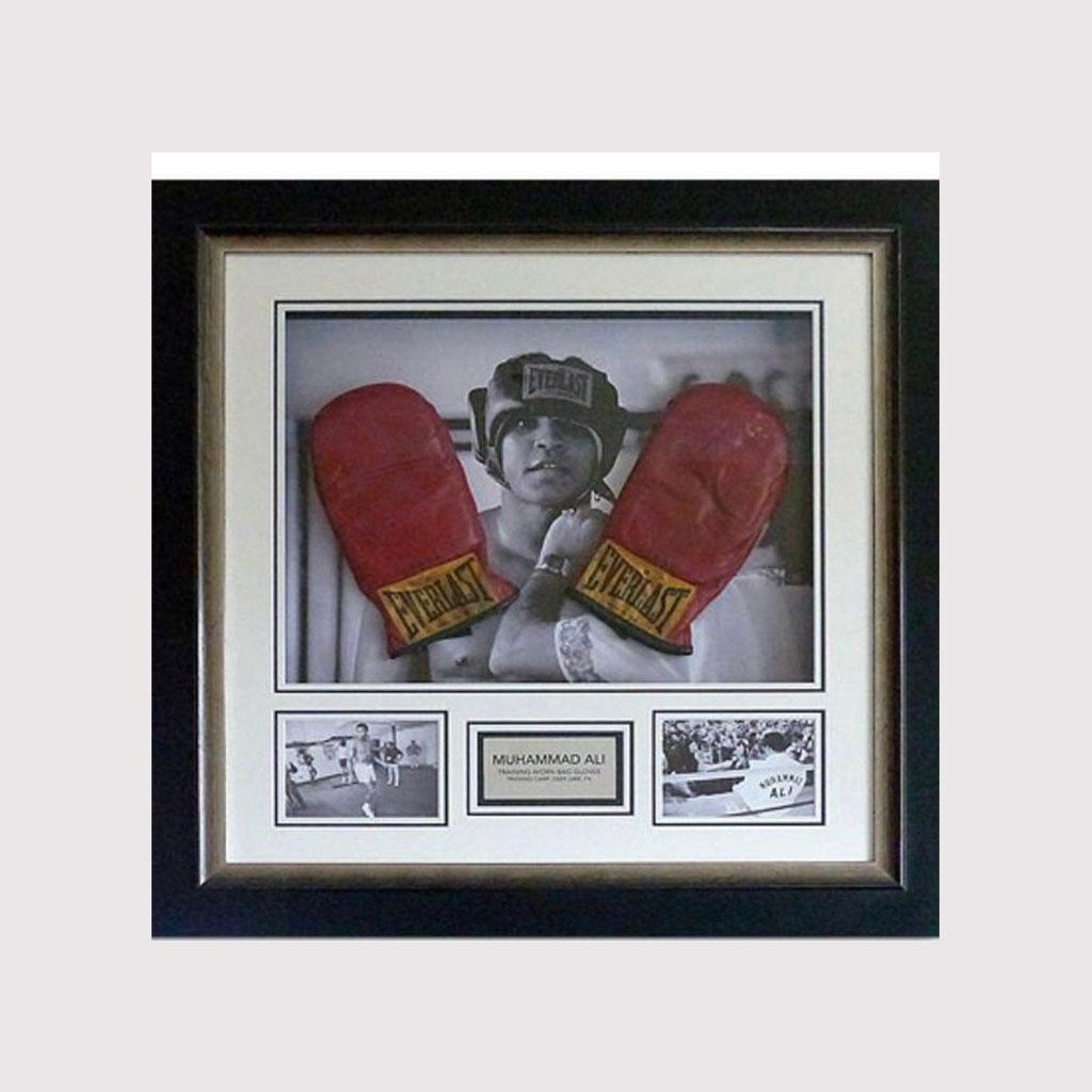 Ali Worn Sparring Gloves Framed