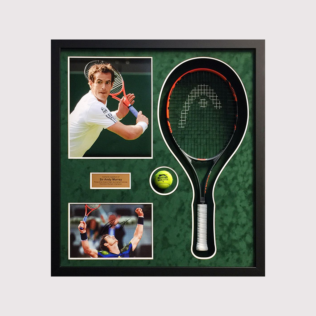 Andy Murray Signed Photo With Racket In Black Frame