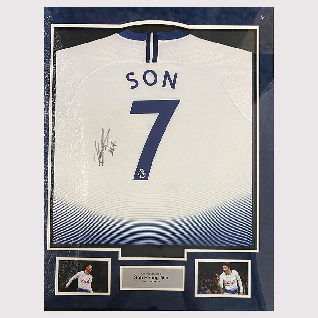 Heung-Min-Son Signed Spurs Shirt in Frame
