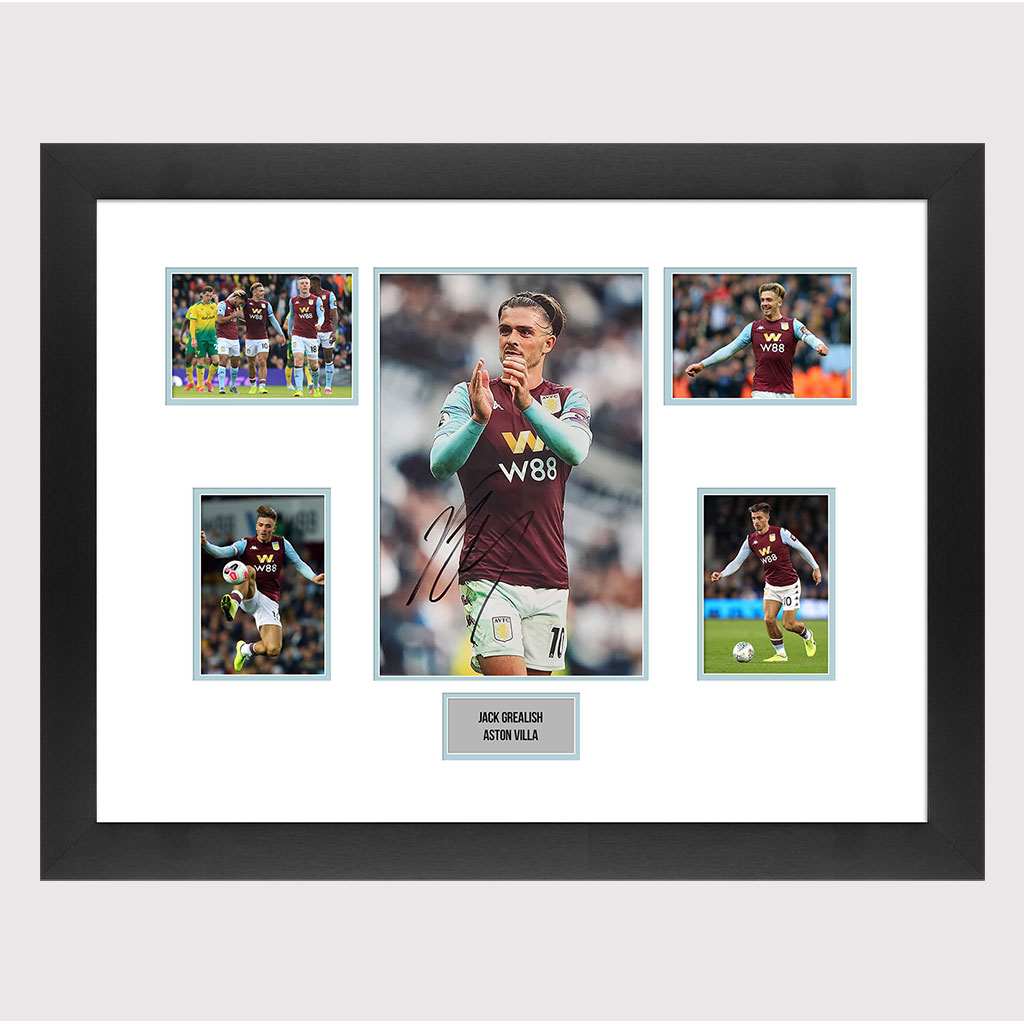 Jack Grealish Signed Villa Photo in Frame