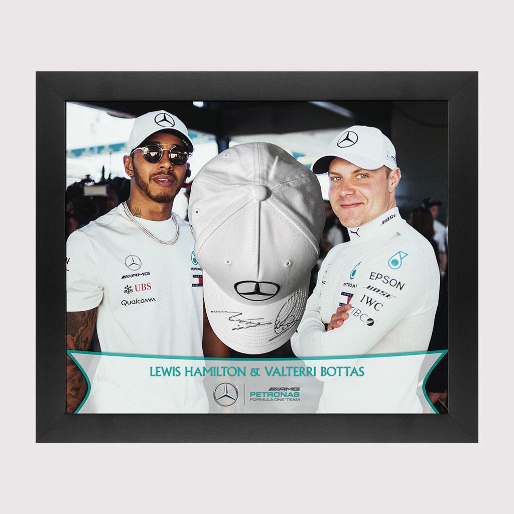 Lewis Hamilton & Valterri Bottas Duo Signed Cap Framed