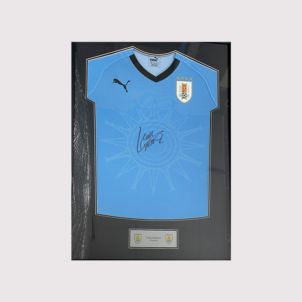 Luis Suarez Uruguay Signed Shirt in Frame