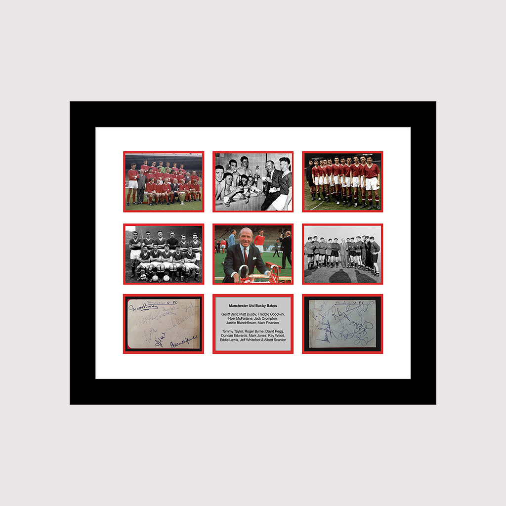 Busby Babes Card Signed in Frame