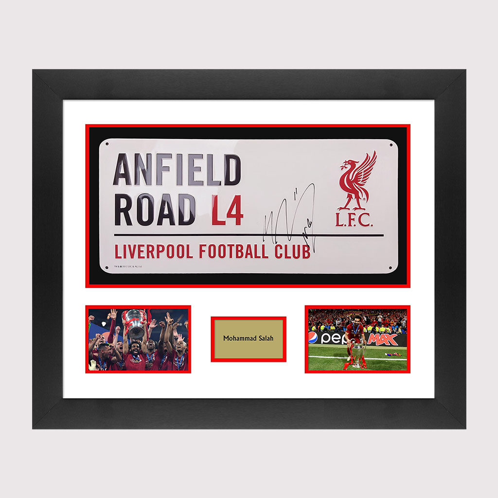 Salah Signed Anfield Road Sign