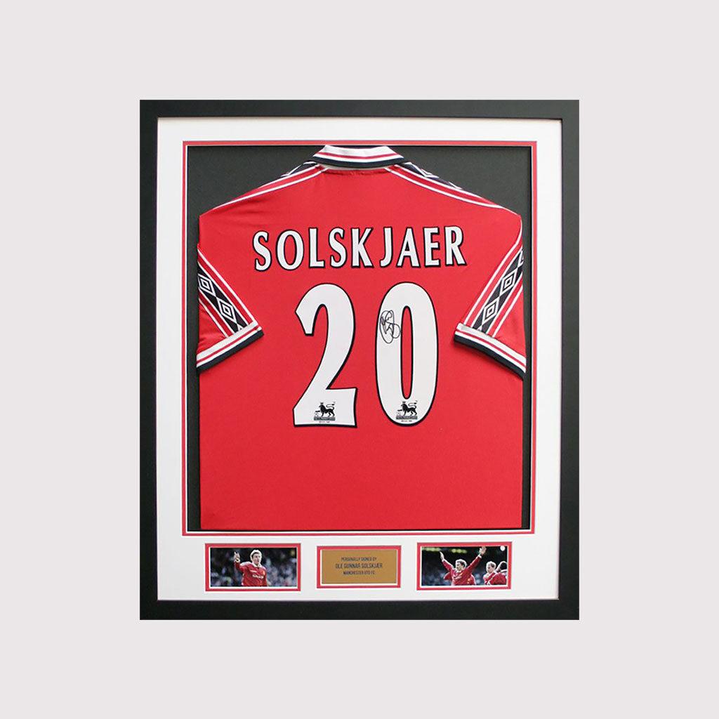 Solskjaer Signed Shirt in Frame
