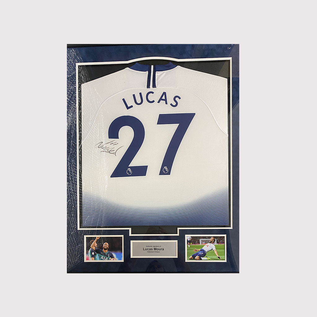 Lucas Moura Signed Spurs Shirt in Frame